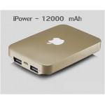 แบตสำรอง Power Bank iPower 12000 mAh สีทอง