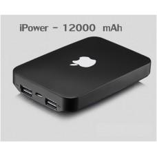 แบตสำรอง Power Bank iPower 12000 mAh สีดำ