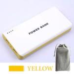 แบตสำรอง Mobile Power 30000 mAh สีเหลือง + ถุงผ้า สีเทา