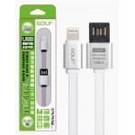 สายชาร์จ iPhone 5/6 (สายแบน) Golf Metal Cable สีเงิน