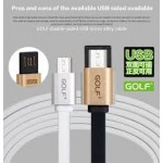 สายชาร์จ Micro USB (สายแบน) Golf Metal Cable - สีเงิน