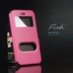 เคส Alcatel onetouch Flash Plus เคสฝาพับ พร้อมช่องรูดรับสาย สีชมพู