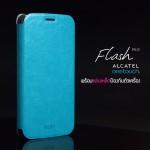 เคส Alcatel Onetouch Flash Plus เคสหนัง + แผ่นเหล็กป้องกันตัวเครื่อง (บางพิเศษ) สีฟ้า