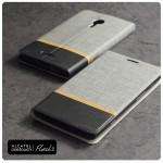 เคส Alcatel Onetouch Flash 2 เคสฝาพับหนัง PVC มีช่องใส่บัตร สีเทา