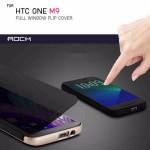 เคส HTC ONE M9 เคสฝาพับหน้าต่างเต็มจอกึ่งโปร่งแสง Full Window Flip Cover จาก ROCK