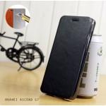 เคส Huawei Ascend G7 เคสฝาพับบางพิเศษ พร้อมแผ่นเหล็กป้องกันของมีคม พับเป็นขาตั้งได้จาก Mofi สีดำ