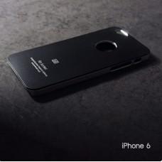 เคส iPhone 6 / 6s เคสแข็งสีเรียบ สีดำ / ขอบสีเงิน