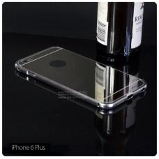 เคส iPhone 6 Plus (5.5 นิ้ว) l เคสฝาหลัง + Bumper (แบบเงา) ขอบกันกระแทก สีเงิน