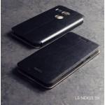 เคส LG Nexus 5X เคสฝาพับบางพิเศษ พร้อมแผ่นเหล็กป้องกันของมีคม พับเป็นขาตั้งได้จาก Mofi สีดำ