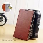 เคส Nokia Lumia 435 เคสฝาพับบางพิเศษ พร้อมแผ่นเหล็กป้องกันของมีคม พับเป็นขาตั้งได้จาก Mofi สีน้ำตาล