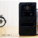 เคส OPPO Find 7 / 7a เคสฝาพับ (ช่องสี่เหลี่ยม) พร้อมช่องรูดรับสาย สีดำสะท้อนแสง