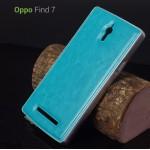 OPPO Find 7 l กันกระแทก พร้อมฝาหลังแบบหนัง Bumper + Leather Cover สีฟ้า ขอบเงิน