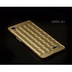 เคส OPPO R7 Lite (OPPO R7) l เคสฝาหลัง + Bumper (แบบเงา) ลายตาราง ขอบกันกระแทก สีทอง