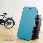 เคส Samsung Galaxy E7 เคสฝาพับบางพิเศษ พร้อมแผ่นเหล็กป้องกันของมีคม พับเป็นขาตั้งได้จาก Mofi สีฟ้าอมเขียว