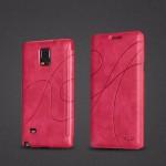 เคส Samsung Galaxy Note 4 l เคสฝาพับของแท้ (KALAIDENG) บางและนุ่มพิเศษ สีชมพูเข้ม