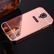 เคส Samsung Galaxy S4 l เคสฝาหลัง + Bumper (แบบเงา) ขอบกันกระแทก สีโรสโกลด์