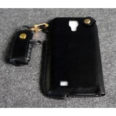 เคส Samsung Galaxy S4 l เคสหนัง PU พร้อมสายคล้องคอ สีดำ