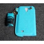 เคส Samsung Galaxy S4 l เคสหนัง PU พร้อมสายคล้องคอ สีฟ้า