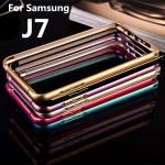 เคส Samsung Galaxy J7 ขอบกันกระแทก Bumper (สีฟ้า / ขอบทอง)