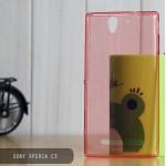 เคส Sony Xperia C3 l เคสนิ่ม Super Slim TPU บางพิเศษ พร้อมจุด Pixel ขนาดเล็กด้านในเคสป้องกันเคสติดกับตัวเครื่อง สีแดง