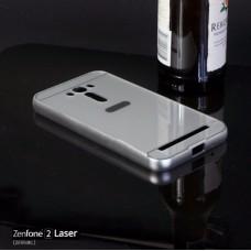 เคส Zenfone 2 Laser (5.5 นิ้ว) l เคสฝาหลัง + Bumper ขอบกันกระแทก สีเงิน