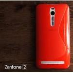 เคส Zenfone 2 (ZE551ML / ZE550ML) | เคสนิ่ม ซิลิโคน คุณภาพดี แบบทูโทน สีแดง / ใส