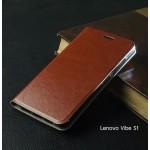 เคส Lenovo Vibe S1 เคสฝาพับหนัง มีช่องใส่บัตร สีน้ำตาล