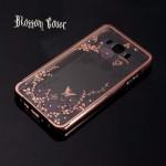เคส Samsung Galaxy J7 Version 2 (2016) l เคส Bumper ขอบกันกระแทก + ฝาหลังลายดอกไม้ สีโรสโกลด์ (Blossom cover)