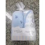"""ผ้าห่อตัว Hooded Towel แพ็คคู่ คอตตอน100% 28""""x28"""" สีฟ้า"""