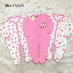 มีเลิฟ Melove เซ็ตชุดหมี ขายาว 3 ตัว สีชมพูลายหมี ABC สำหรับอายุ 6-9 เดือน