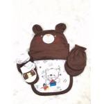 มายลิตเติ้ลเบบี้ My Little Baby เซตถุงมือ ถุงเท้า หมวก 4 ชิ้น ลายหมี สีน้ำตาล