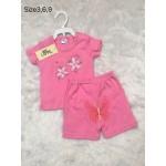 มีเลิฟ Melove เสื้อเปิดบ่าพร้อมกางเกงสีชมพู ลายดอกไม้ สำหรับอายุ 0-3 เดือน