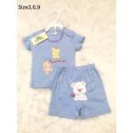 มีเลิฟ Melove เสื้อเปิดบ่าพร้อมกางเกงสีฟ้า ลายหมี สำหรับอายุ 3-6 เดือน