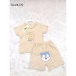 มีเลิฟ Melove เสื้อเปิดบ่าพร้อมกางเกงสีน้ำตาล ลายสิงโต สำหรับอายุ 3-6 เดือน