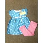 LAURA ASHLEY ชุดแซกเด็กผู้หญิง ลายจุด สีฟ้า พร้อมกางเกงแลคกิ้ง สีชมพู สำหรับ 12 เดือน