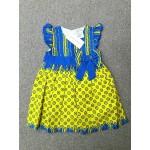 LAURA ASHLEY ชุดกระโปรงเด็กผู้หญิง สีเหลืองน้ำเงิน สำหรับ 12 เดือน