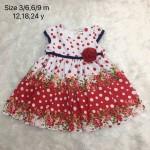 LAURA ASHLEY ชุดกระโปรงเด็กผู้หญิง ลายดอกไม้ สีแดง สำหรับ 3-6 เดือน