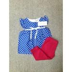 LAURA ASHLEY ชุดแซกเด็กผู้หญิง ลายจุด สีน้ำเงิน พร้อมกางเกงแลคกิ้ง สีบานเย็น สำหรับ 3-6 เดือน