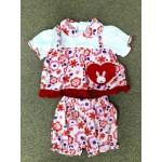 Nannette ชุดเด็กผู้หญิงแขนตุ๊กตา ลายดอกไม้ สีแดง สำหรับ 6-9 เดือน