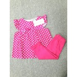 LAURA ASHLEY ชุดแซกเด็กผู้หญิง ลายจุด สีบานเย็น พร้อมกางเกงแลคกิ้ง สีบานเย็น สำหรับ 6-9 เดือน