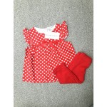 LAURA ASHLEY ชุดแซกเด็กผู้หญิง ลายจุด สีแดง พร้อมกางเกงแลคกิ้ง สีแดง สำหรับ 6-9 เดือน