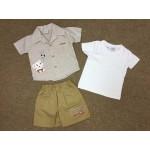 ชุดเด็กผู้ชายเสื้อเชิ้ตพร้อมกางเกง ปักลายช้าง สำหรับ 12 เดือน