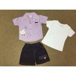 Nannette ชุดเด็กผู้ชายเสื้อเชิ้ตพร้อมกางเกง สีม่วงปักลายช้าง สำหรับ 12 เดือน