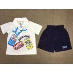คิวคิดเซ็นต์ Q Kids Cent ชุดเด็กผู้ชายเสื้อยืดคอปกสีขาว พร้อมกางเกงขาสั้น 12 เดือน