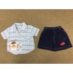ชุดเด็กผู้ชายเสื้อเชิ้ตพร้อมกางเกง ปักลายหนู สำหรับ 3-6 เดือน