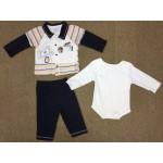 ชุดเด็กผู้ชาย เซ็ต 3 ชิ้น สีขาวลายสิงโต (บอดี้สูท+เสื้อแขนยาว+กางเกงขายาว) 6-9 เดือน