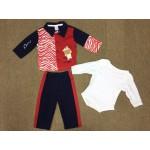 ชุดเด็กผู้ชาย เซ็ต 3 ชิ้น สีแดง&น้ำเงิน (บอดี้สูท+เสื้อแขนยาว+กางเกงขายาว) 6-9 เดือน