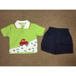 Nannette ชุดเด็กผู้ชายเสื้อยืดคอปกพร้อมกางเกง สีเขียว สำหรับ 6-9 เดือน