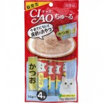 CIAO Chu-ru ขนมครีมแมวเลีย เนื้อปลาทูน่าคัดซีโอะ 14 กรัม x 4 ซอง
