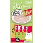 CIAO Chu-ru ขนมครีมแมวเลีย รสเนื้อสันในไก่ & ปลาหมึก ขนาด 14 กรัม x 4 ซอง